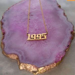 1995 Birth Year Gothic Font Necklace